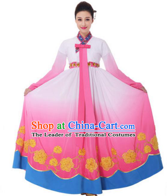 Traditional Chinese Korean Nationality Princess Pink Dress, China Koreans Minority Ethnic Dance Costume for Women