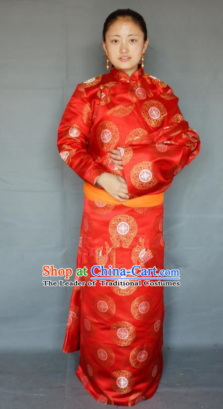 Chinese Traditional Zang Nationality Clothing Red Tibetan Robe, China Tibetan Ethnic Heishui Dance Costume for Women