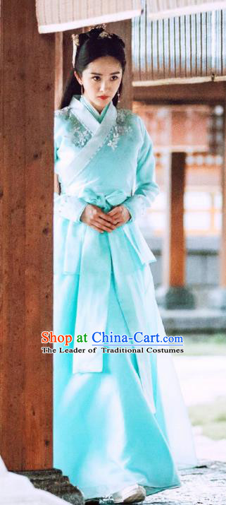 Chinese Ancient Palace Lady Embroidered Hanfu Dress Legend of Fu Yao Palace Princess Historical Costume for Women