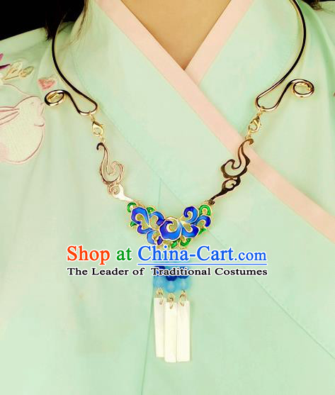 Chinese Traditional Ancient Longevity Lock Accessories Hanfu Blueing Lotus Golden Necklace for Women