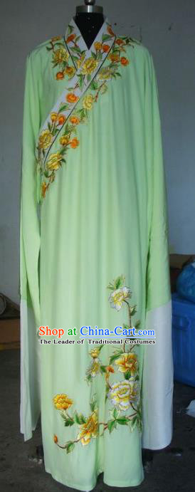 Chinese Traditional Beijing Opera Niche Costumes China Peking Opera Embroidered Peony Green Robe for Adults