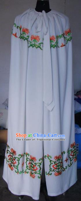 Chinese Traditional Beijing Opera Young Lady Costumes China Peking Opera Diva White Cloak for Adults