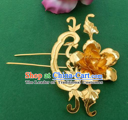 Chinese Traditional Ancient Princess Golden Peony Hair Clip Hairpins Hair Accessories for Women