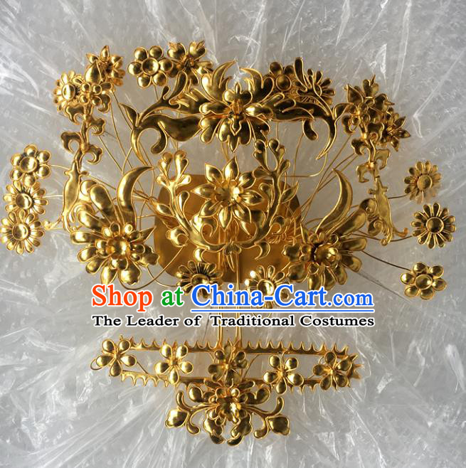 Chinese Traditional Ancient Golden Hair Clip Hanfu Hairpins Hair Accessories for Women