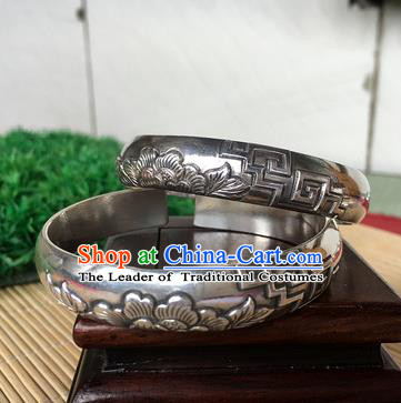 Handmade Chinese Miao Nationality Sliver Bracelet Traditional Hmong Carving Peony Bangle for Women