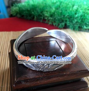 Handmade Chinese Miao Nationality Carving Lotus Sliver Bracelet Traditional Hmong Bangle for Women