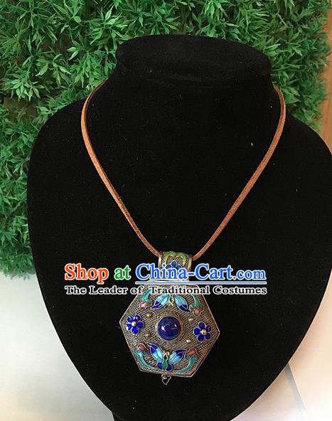 Handmade Chinese Miao Nationality Sachet Necklace Sliver Hmong Blueing Necklet for Women