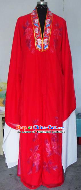 Chinese Traditional Shaoxing Opera Scholar Costumes Peking Opera Niche Red Silk Robe for Adults