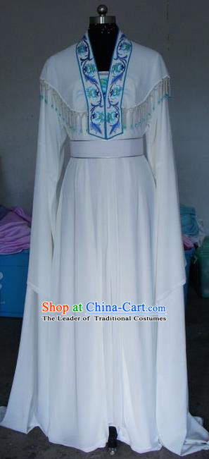 Chinese Traditional Beijing Opera Actress Costumes China Peking Opera Embroidered White Dress for Adults