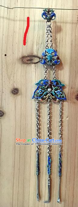 Handmade Chinese Miao Nationality Waist Accessories Sliver Hmong Blueing Butterfly Necklet Pendant for Women
