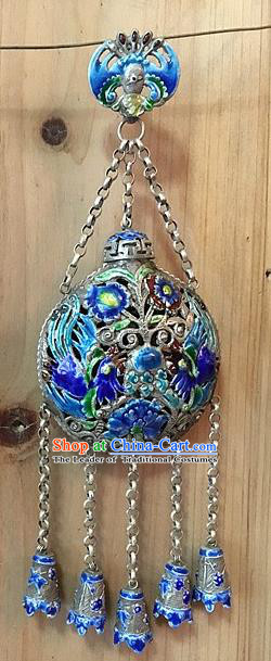 Handmade Chinese Miao Nationality Blueing Sachet Waist Accessories Hmong Sliver Pendant for Women