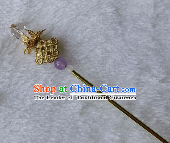 Chinese Traditional Hair Accessories Ancient Golden Hairpins Bride Hair Clip for Women