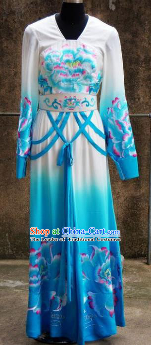 Chinese Traditional Beijing Opera Imperial Concubine Blue Dress China Peking Opera Diva Embroidered Costumes for Adults