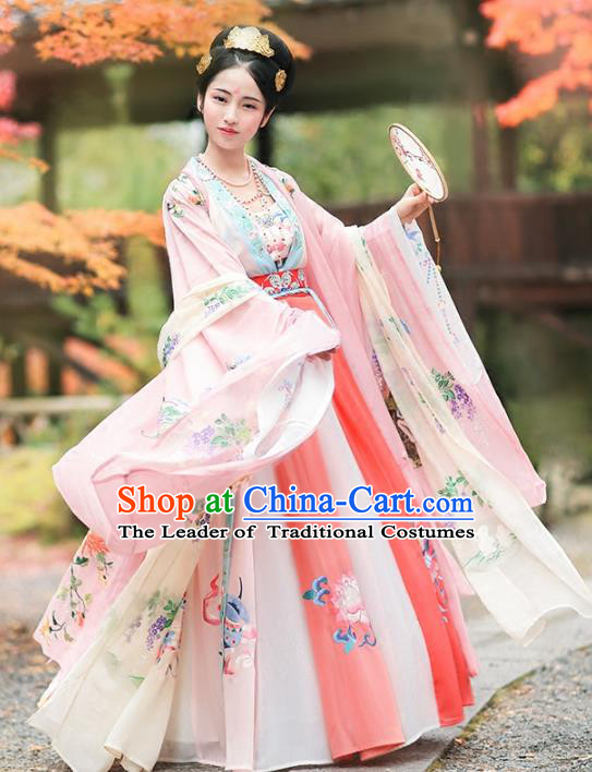 Ancient Chinese Tang Dynasty Imperial Concubine Dance Hanfu Dress Palace Lady Embroidered Costume for Women