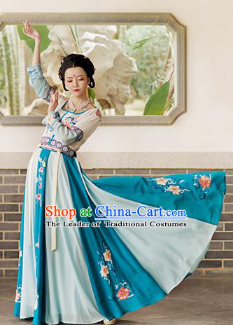 Ancient Chinese Tang Dynasty Princess Dance Hanfu Dress Palace Lady Embroidered Costume for Women