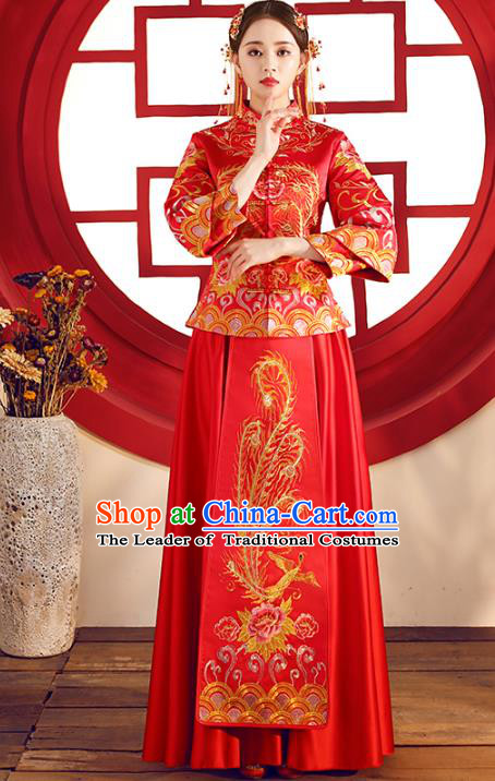 Top Grade Chinese Traditional Wedding Costumes Red Xiuhe Suits Bride Embroidered Phoenix Dress for Women