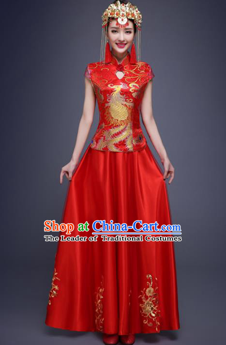Top Grade Chinese Traditional Wedding Costumes Embroidered Red Lace Xiuhe Suits Bride Dress for Women