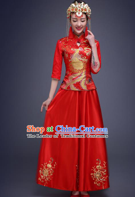 Top Grade Chinese Traditional Wedding Costumes Embroidered Red Xiuhe Suits Bride Toast Dress for Women