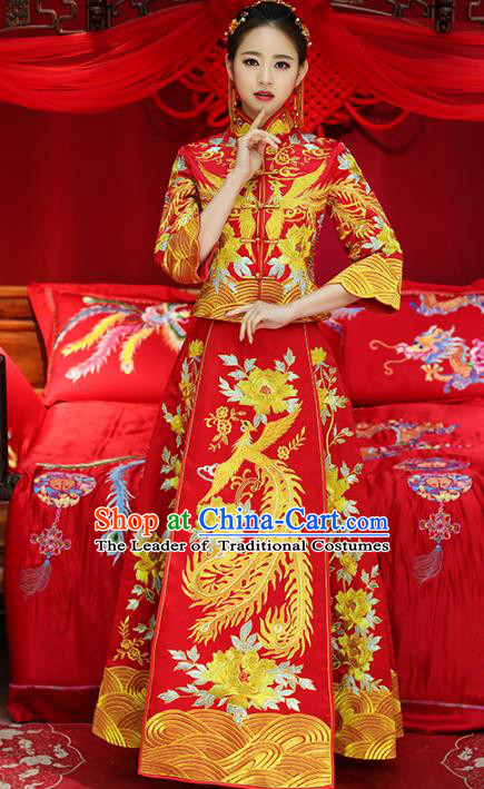 Top Grade Chinese Traditional Wedding Costumes Embroidered Phoenix Peony Xiuhe Suits Bride Toast Red Dress for Women