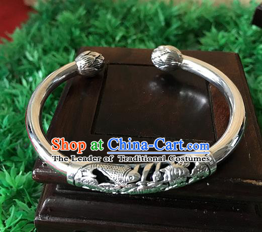 Handmade Chinese Miao Nationality Sliver Bracelet Traditional Hmong Bangle for Women