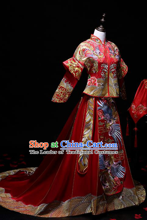 Chinese Traditional Embroidered Phoenix Wedding Costumes Ancient Trailing Longfeng Flown Bride Xiuhe Suits for Women