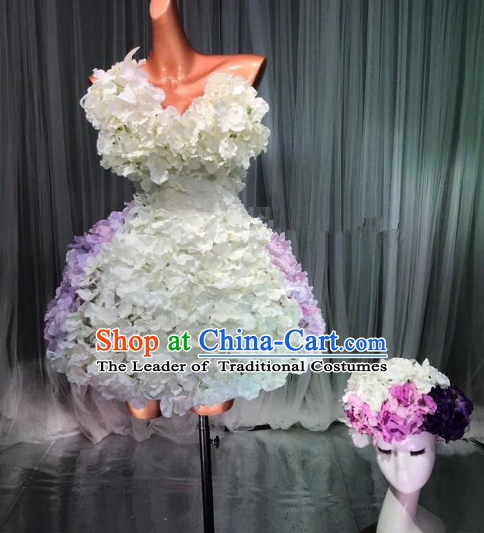 Top Grade Stage Performance Costume Models Catwalks White Flowers Fairy Dance Dress and Headwear for Women