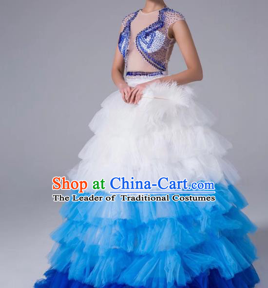 Top Grade Stage Performance Compere Costume Models Catwalks Full Dress for Women