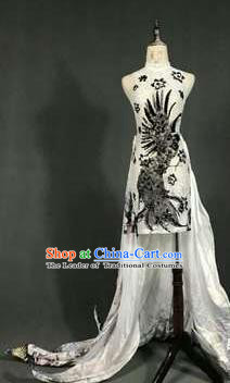 Top Grade Models Catwalks Costume Compere White Cheongsam Stage Performance Full Dress for Women