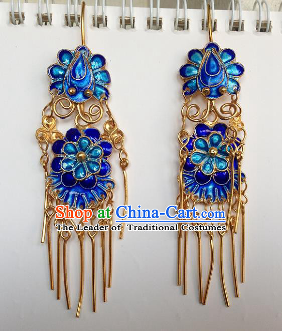 Handmade Chinese Miao Nationality Blueing Tassel Earrings Hmong Sliver Eardrop for Women