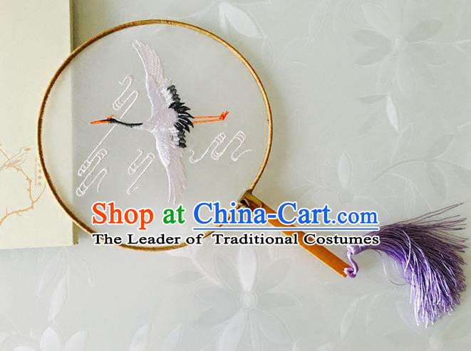 Chinese Traditional Embroidered Crane Palace Fan Ancient Hanfu Round Fans for Women