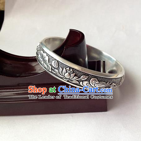 Handmade Chinese Miao Nationality Craft Carving Mandarin Duck Sliver Bracelet Traditional Hmong Bangle for Women