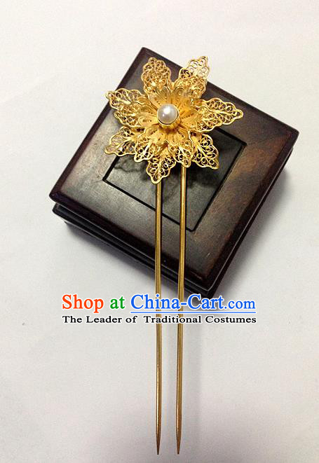 Chinese Traditional Ancient Golden Lotus Flower Hairpins Hair Accessories Hair Clip for Women