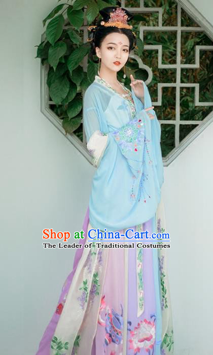 Chinese Tang Dynasty Princess Hanfu Dress Ancient Palace Lady Peri Embroidered Costume for Women