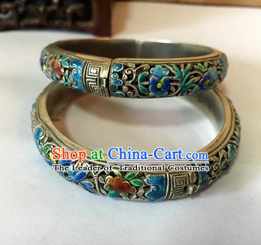 Handmade Chinese Miao Nationality Sliver Bracelet Traditional Hmong Carving Blueing Bangle for Women