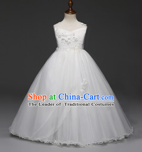 Children Models Show Costume Stage Performance Catwalks Compere Princess White Dress for Kids