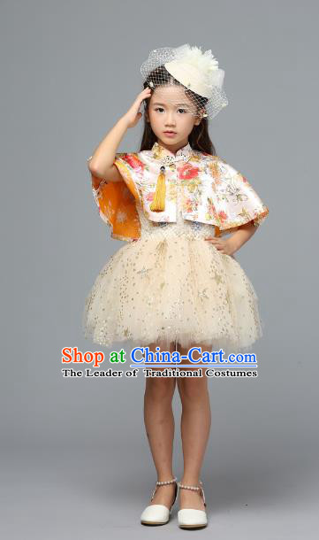 Children Models Show Costume Stage Performance Catwalks Compere Yellow Bubble Dress for Kids
