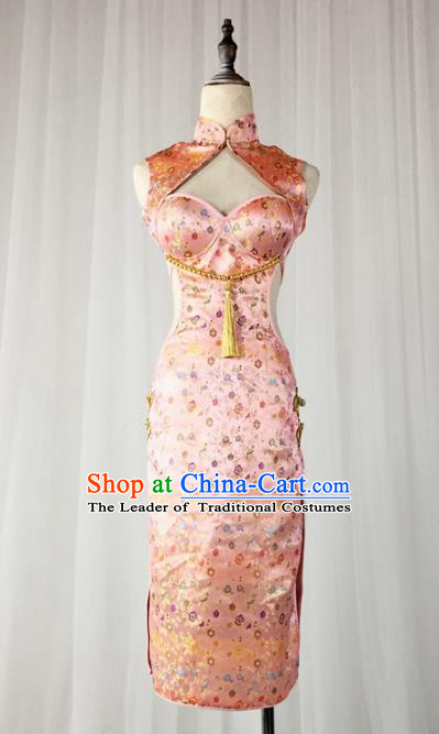 Top Grade Models Show Costume Stage Performance China Cheongsam Pink Full Dress for Women