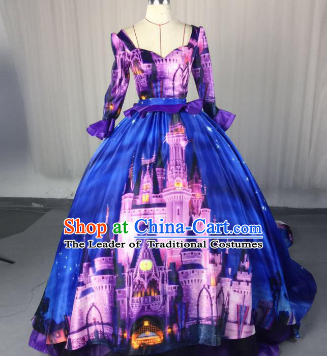 Top Grade Models Show Costume Stage Performance Catwalks Printing Blue Full Dress for Women