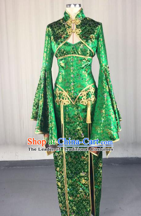 Top Grade Models Show Costume Stage Performance Catwalks Green Cheongsam Full Dress for Women
