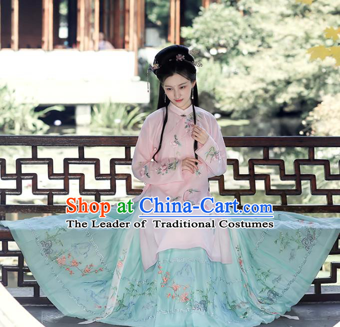 Chinese Ming Dynasty Princess Hanfu Dress Ancient Peri Goddess Embroidered Costumes Complete Set for Women