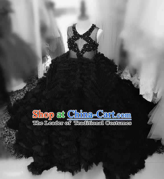Children Models Show Costume Stage Performance Catwalks Compere Black Veil Mullet Dress for Kids