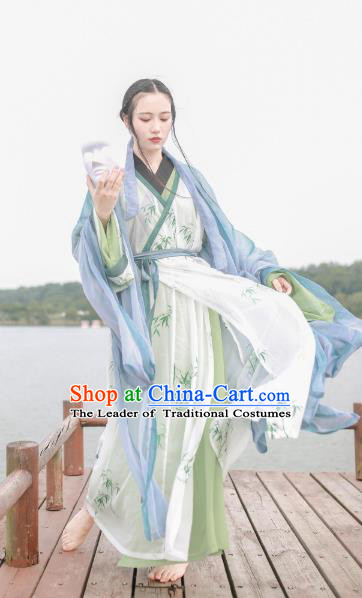 Chinese Jin Dynasty Princess Costume Ancient Nobility Lady Printing Bamboo Hanfu Dress for Women