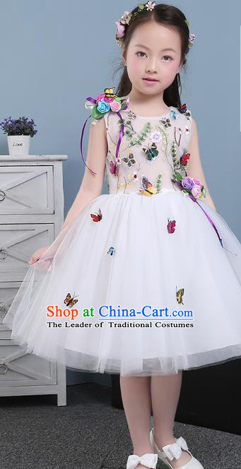 Children Models Show Costume Compere Butterfly Full Dress Stage Performance Clothing for Kids