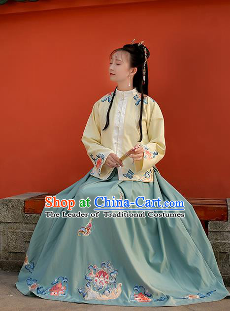 Traditional Chinese Ming Dynasty Embroidered Butterfly Costume Ancient Nobility Lady Hanfu Dress for Women