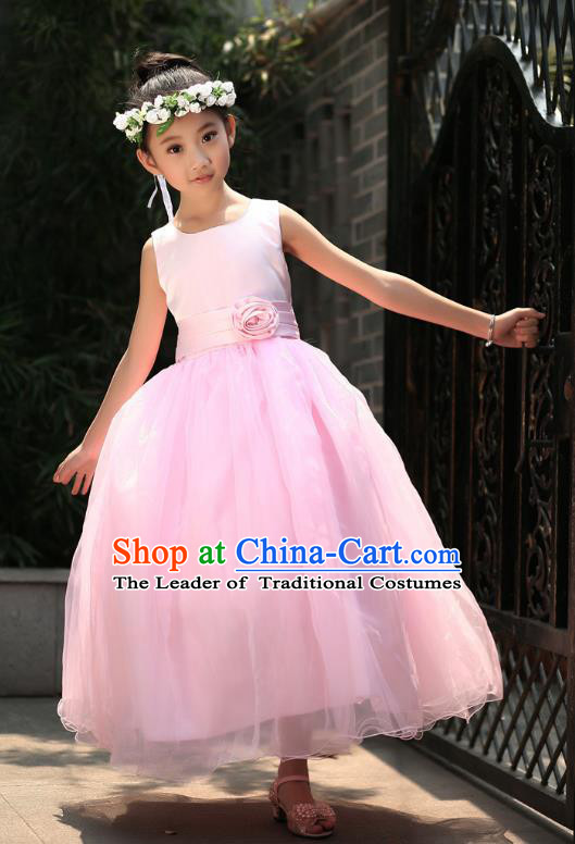 Children Modern Dance Princess Pink Dress Stage Performance Catwalks Compere Costume for Kids
