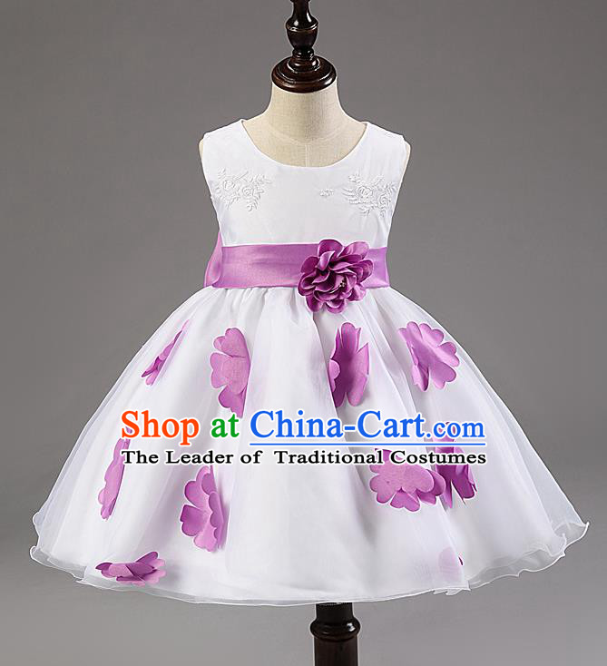 Children Modern Dance Compere Purple Flowers Full Dress Stage Performance Catwalks Costume for Kids