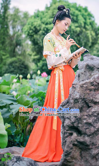 Chinese Tang Dynasty Maidenform Hanfu Dress Ancient Princess Embroidered Costumes for Women