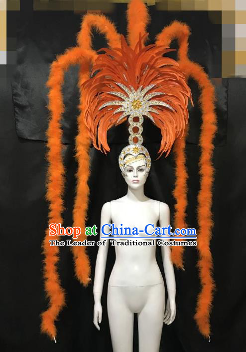 Brazilian Carnival Samba Dance Deluxe Hair Accessories Dionysia Miami Catwalks Orange Feather Headdress for Women