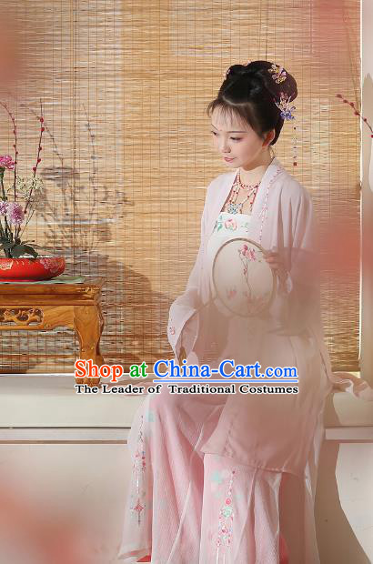 Ancient Chinese Female Embroidered Costume Song Dynasty Beauty Hanfu Clothing for Rich Women