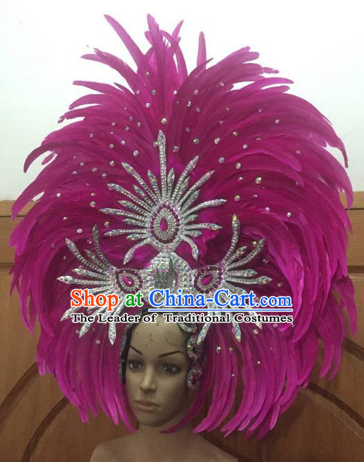 Custom-made Samba Dance Deluxe Rosy Feather Hair Accessories Brazilian Rio Carnival Headdress for Women